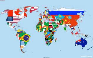 country on world map the countries flags map