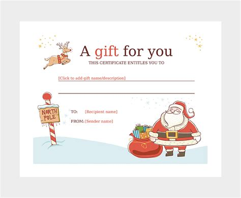 44 Free Printable Gift Certificate Templates For Word Pdf Santa Gift Certificate Template