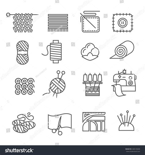 Outline Textiles by Textile Industry Outline Icons Set Cloth Stock Vector 348145040