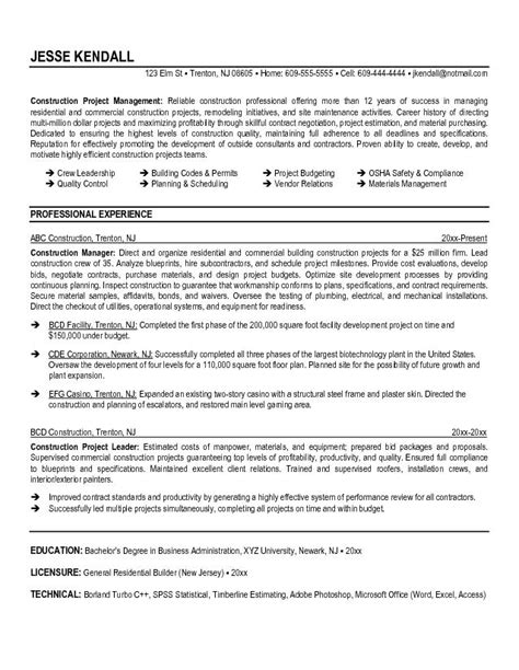 Resume Sles For Construction Supervisor Construction Manager Resume Sle Free Resumes Tips