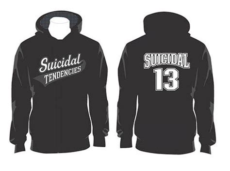 Tendencies Sweater Takama Sweater suicidal tendencies logo on front 13 on back on a black hooded sweatshirt sale price