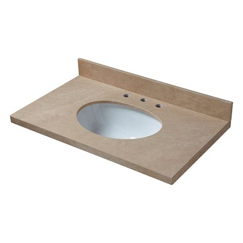 Pegasus Bathroom Vanity Tops Pegasus 25 In Marble Vanity Top In Crema Marfil With White Basin 25998 The Home Depot