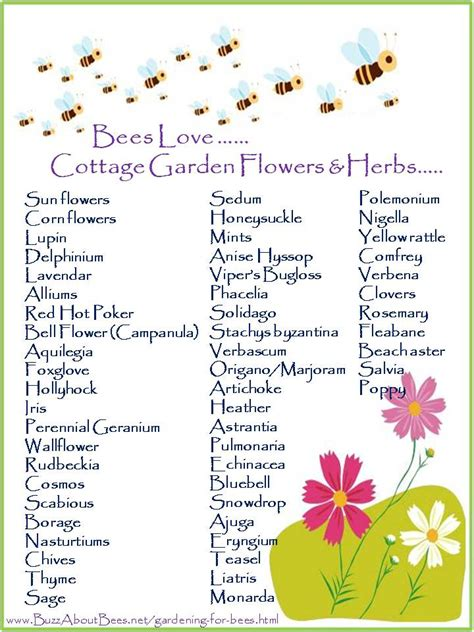 cottage garden flowers list free bee posters to