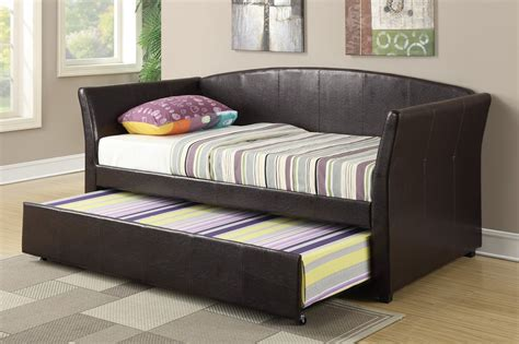 what is the size of a twin bed poundex f9221 brown twin size leather bed steal a sofa
