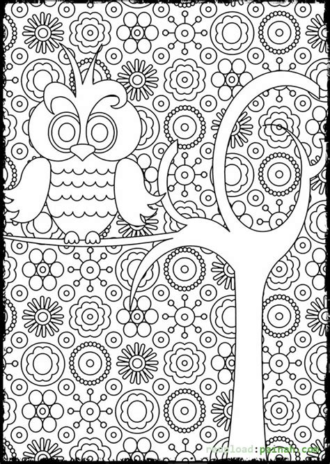 decorative owl adult anti stress coloring page black and