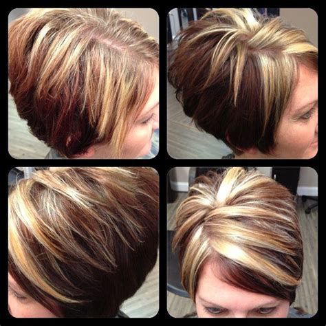 chunking or highlighting short brown hairstyle chunky highlights hair styles pinterest chunky