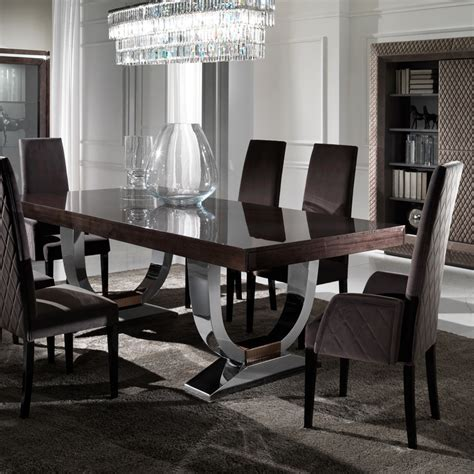 modern dining table chairs large modern veneered extendable dining table