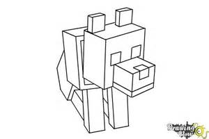 How To Draw A Minecraft Wolf  DrawingNow sketch template