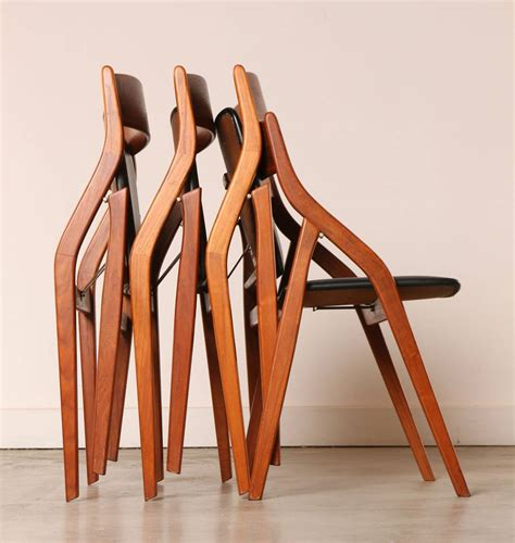folding dining chairs set of four dyrlund danish modern teak folding dining