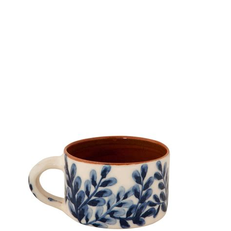 Handmade Coffee Cups - handmade pottery coffee mugs with blue and white flowers