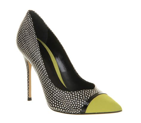 womens office jester black white snake yellow leather