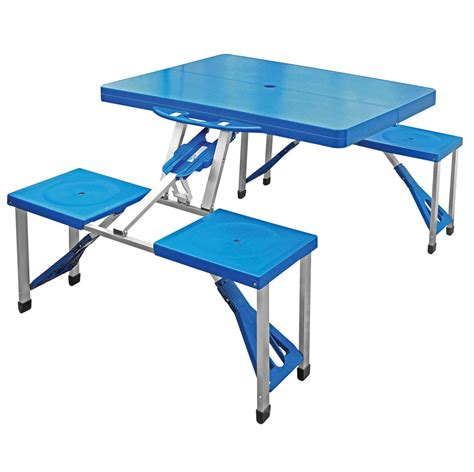 Folding Plastic Picnic Table Folding Cing Table Foldaway Picnic Portable Bench Set 4 Persons Plastic Seat Ebay