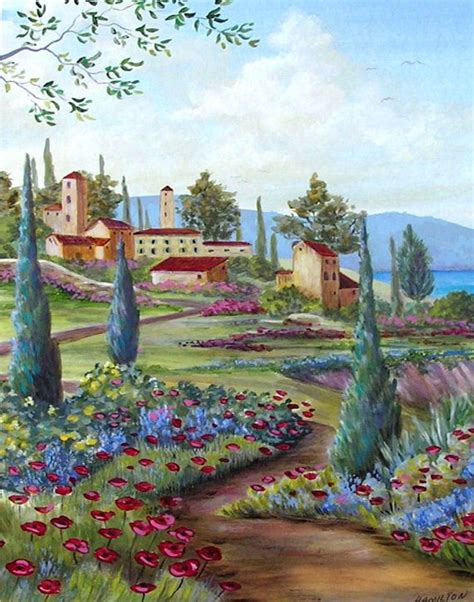 italian home decor italian art italy architecture prints tuscan village italian landscape painting by