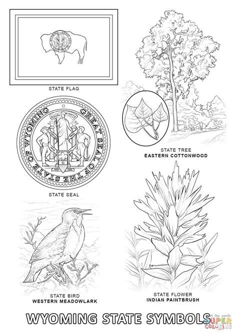 wyoming state symbols coloring page free printable