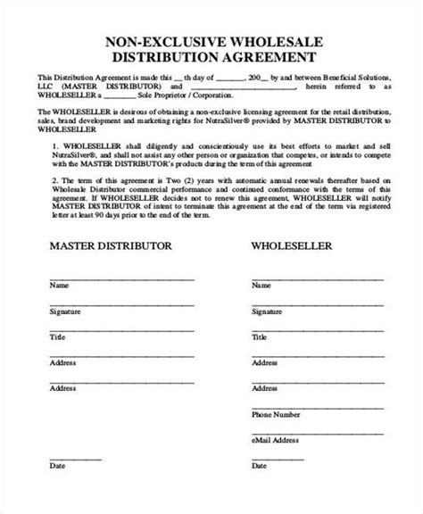 wholesale agreement template 10 distribution agreement form sles free sle