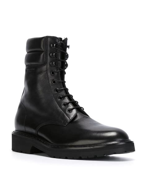 combat boots for laurent combat boots in black for lyst