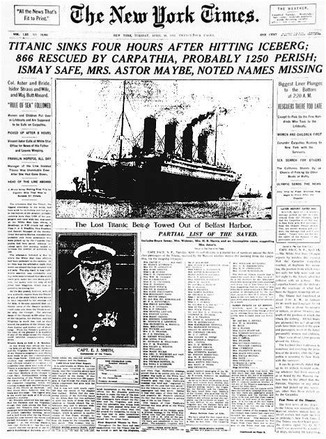 Titanic Sinks Newspaper titanic sinks four hours after hitting iceberg 866