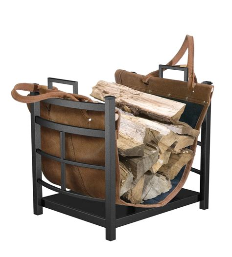 Small Firewood Rack by Black Mission Log Bin With Leather Carrier For Outdoor