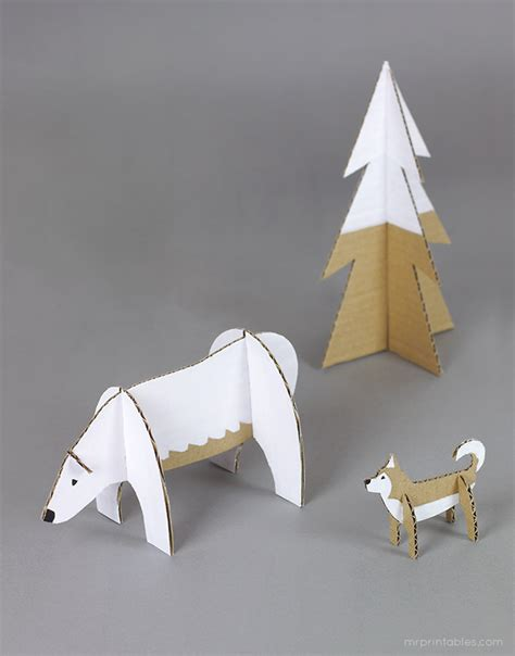 How To Make A Polar Out Of Paper - peg dolls winter cardboard animal templates