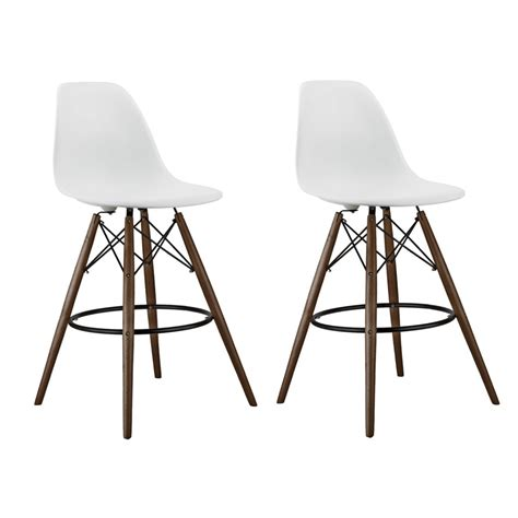 bar stools wooden legs set of 2 white eames style dsw stool with dark walnut wood