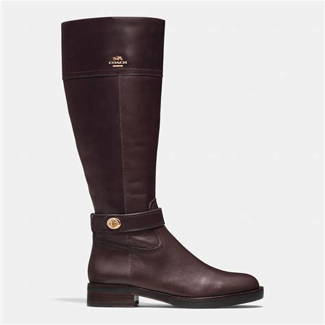 coach leather knee high boots in brown lyst