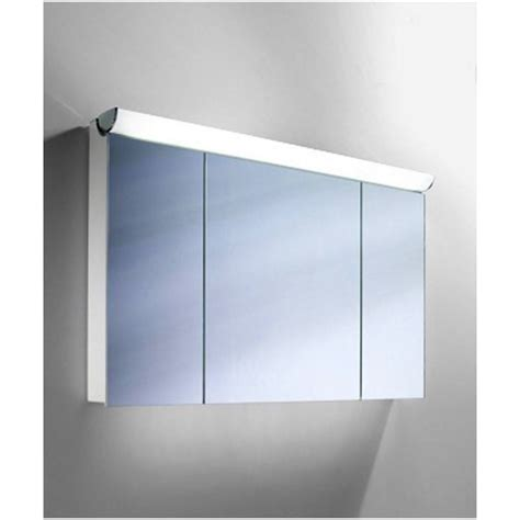 mirror cupboard bathroom schneider faceline 3 door illuminated mirror cabinet