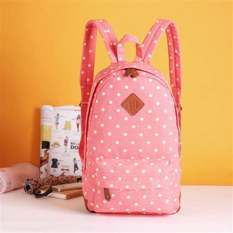 Soft Pink Eight Dotted Fashion Bag sweet lovely fresh pig nose pink surface white polka dot school bag college backpack fashion