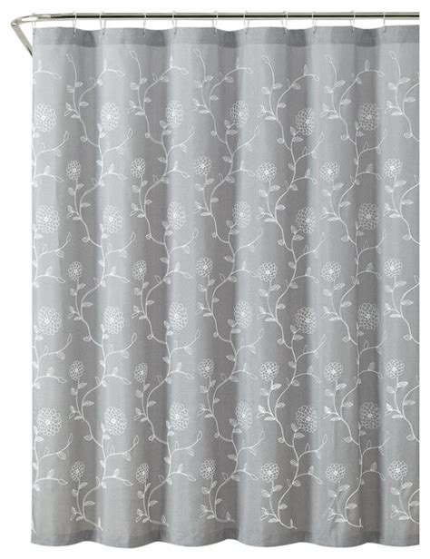 Gray Floral Curtains Silver Gray Floral Fabric Shower Curtain Modern Shower Curtains By Curtain Call