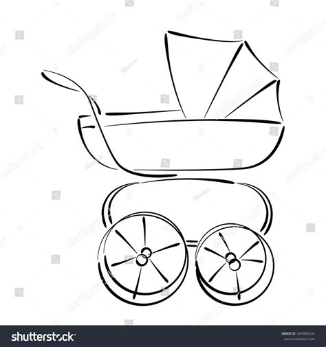 baby stroller template sketched baby stroller buggy isolated on stock vector