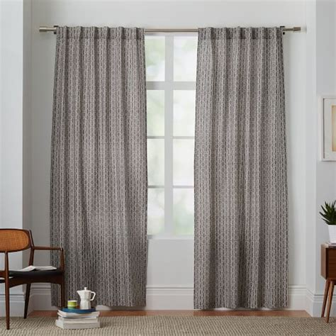 cotton canvas curtains cotton canvas bracket geo curtain slate west elm