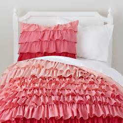 Cute Duvets Girls Bedding Pink Ombre Ruffled Bedding Set The Land