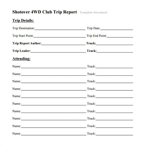 trip report template 7 free sles exles formats