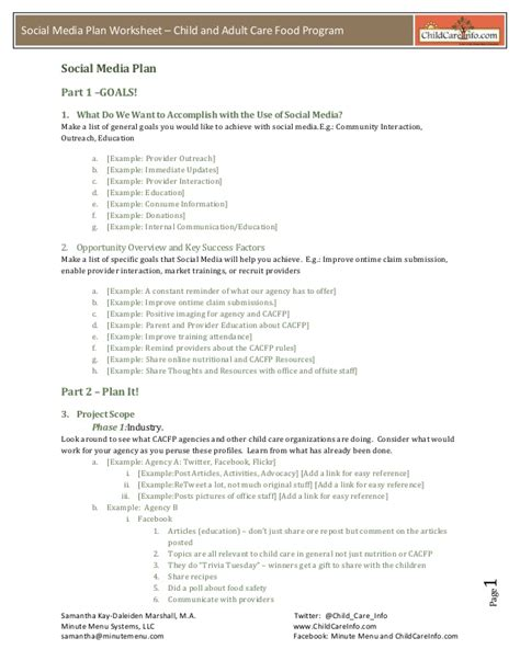 media business plan template social media plan template 2012 handout my copy