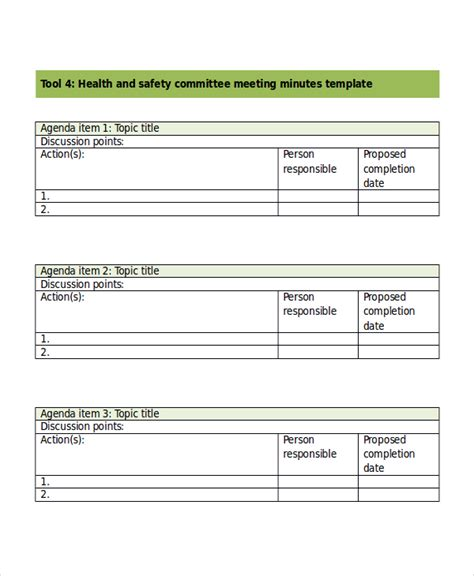 health and safety forms templates safety meeting minutes template 7 free word pdf