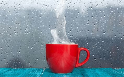 Red Cup Rain Background Wallpaper HD Of Coffee Cup