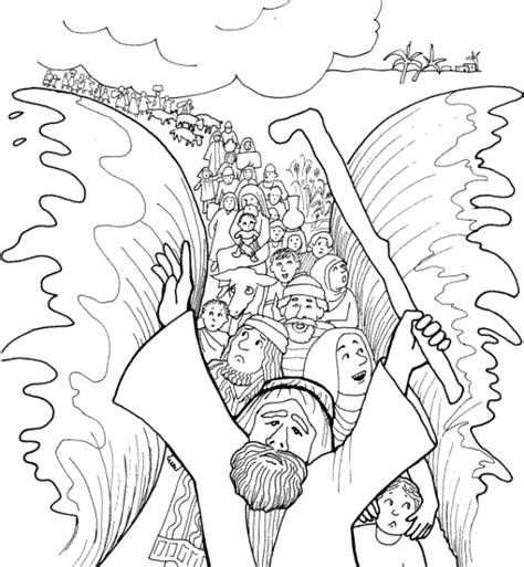 Moses Parting The Red Sea Coloring Page Quot Israelites Cross Parting Of The Sea Coloring Page
