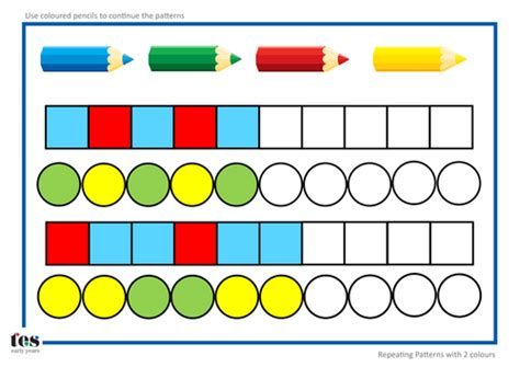 pattern activities stage 2 repeating pattern sequences by tesearlyyears teaching