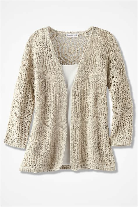 crochet cardigan open crochet cardigan s sweaters coldwater creek