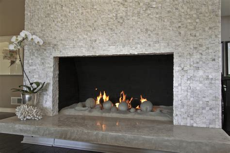 sugar cube mosaic fireplace living room