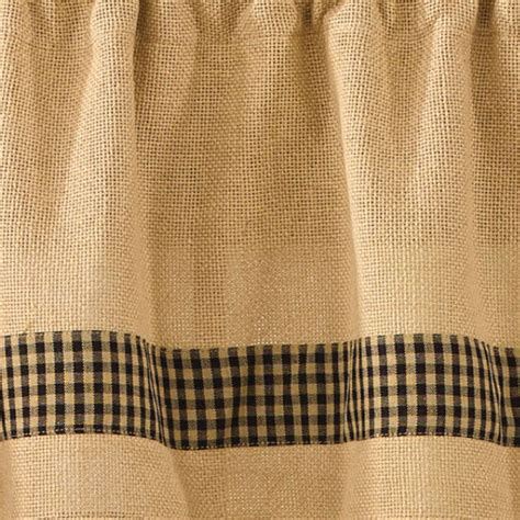 Park Designs Curtains Burlap And Check Unlined Curtain Panels By Park Designs 63 Quot Or 84 Quot Ebay