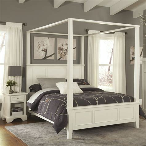 white canopy bed shop home styles naples white queen bedroom set at lowes com