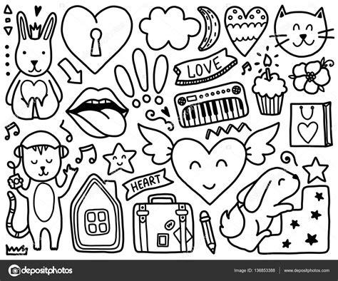 doodle vs doodle 3 doodles schattig elementen stockvector 169 qilli 136853388