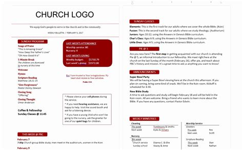 12 church bulletin template microsoft word oinwy