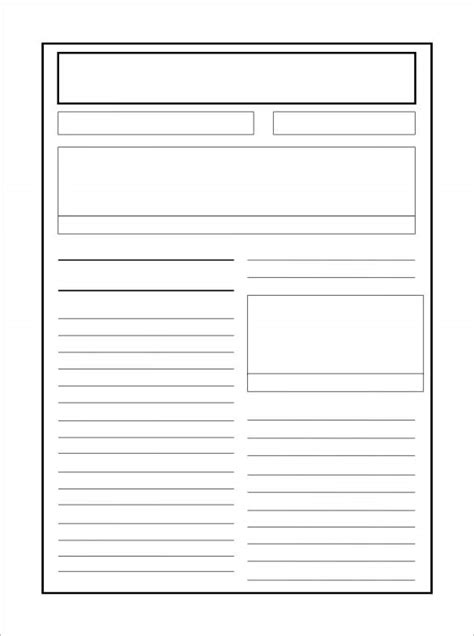 blank newspaper article template ks2 cover letter exle