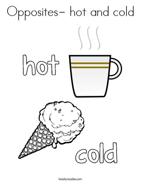 opposites coloring pages preschool opposites hot and cold coloring page twisty noodle