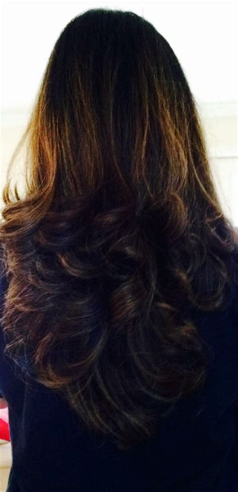 hair highlights for the bottom of your hair new haircut with v shape bottom long layers and grown out
