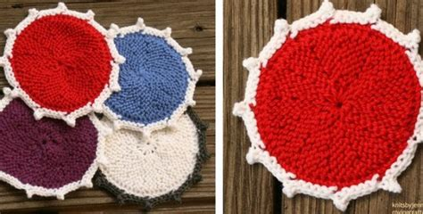 Brighten Your With Colored Coasters by Colored Knitted Coasters Free Knitting Pattern