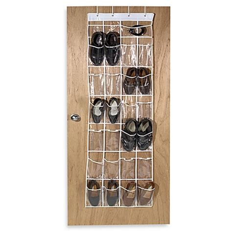 door shoe organizer buy crystal clear 24 pocket over the door vinyl shoe