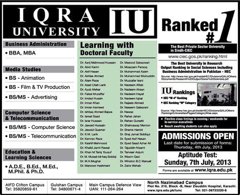 Aptitude Test For Mba In Iqra iu iqra admissions 2018 merit list result 2018