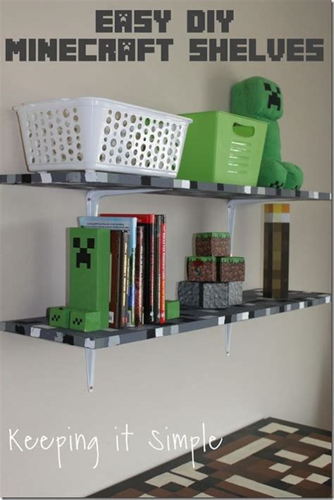 Diy Boys Bedroom Ideas Minecraft Boys Bedroom Ideas Easy Diy Minecraft Shelves Minecraft Keepingitsimple My